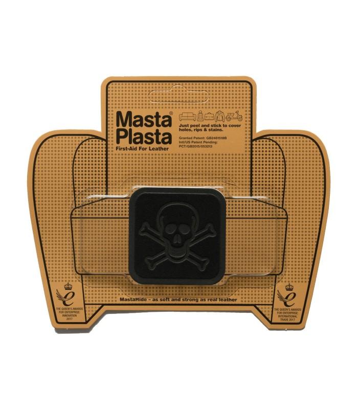 Patch Masta Plasta taille S réparation cuir suédé 5x5cm tête de mort