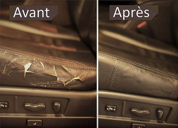 réparation d'un siège de voiture en cuir